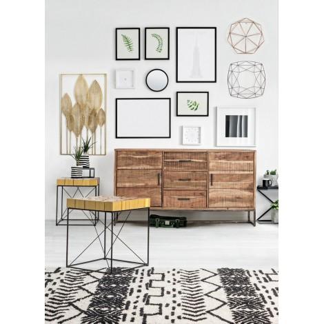 Librero Bcr de tres estantes y dos cajones madera de mahogany color teka