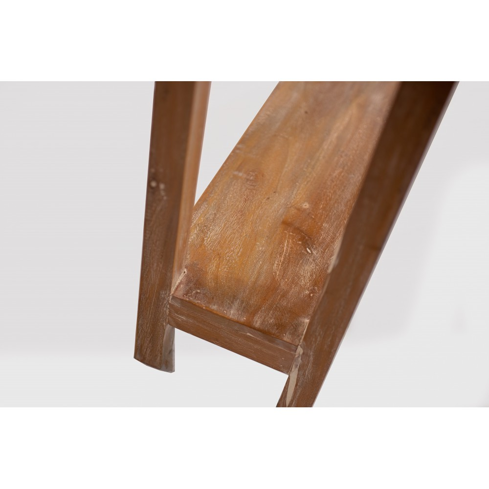 Mesa de rincón de madera reciclada encerada efecto envejecido