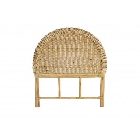 Cabecero DAU madera de teka y fibra natural lacado blanco mate