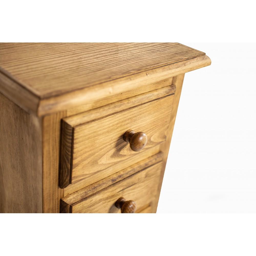 Mesa de centro rústica de madera de pino encerado con tapa elevable