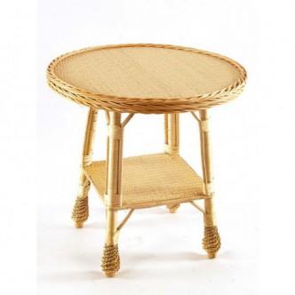 Mesa de centro rúsitca de madera de pino encerado con cuatro cristales