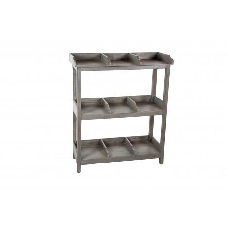 Librero KAB bajo para TV de madera natural y forja con dos estantes estilo industrial con ruedas