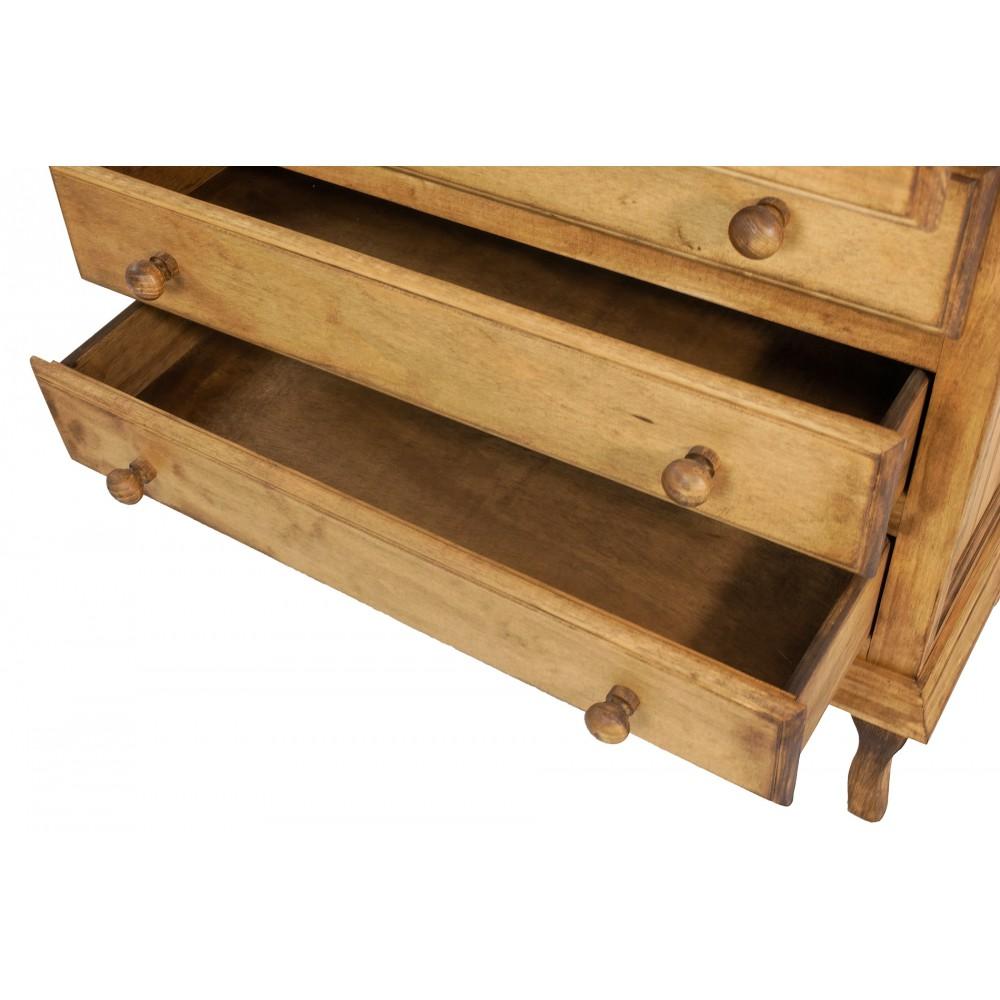 Mesita de noche de madera de pino encerada con tres cajones