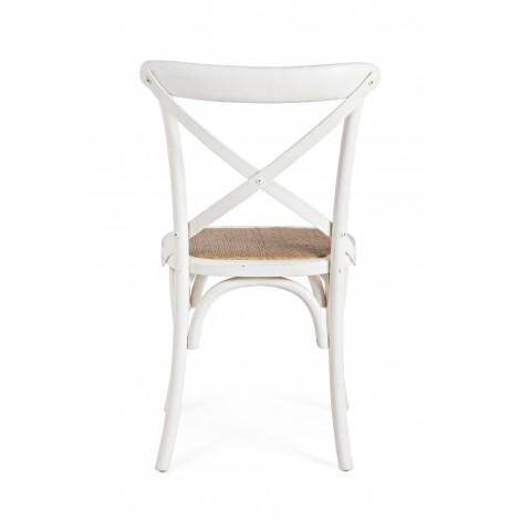Sofa Bizz de madera con palos teka color blanco lacado cojín de lino