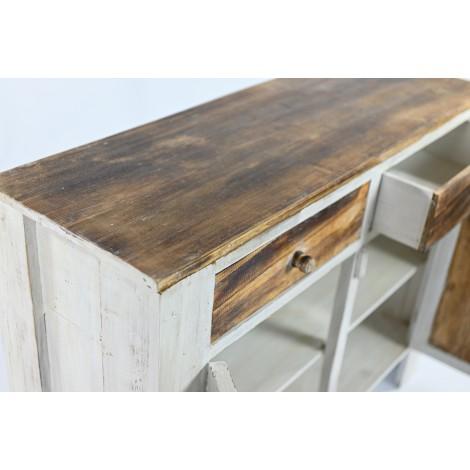 Cómoda rústica de cinco cajones de madera de pino encerado