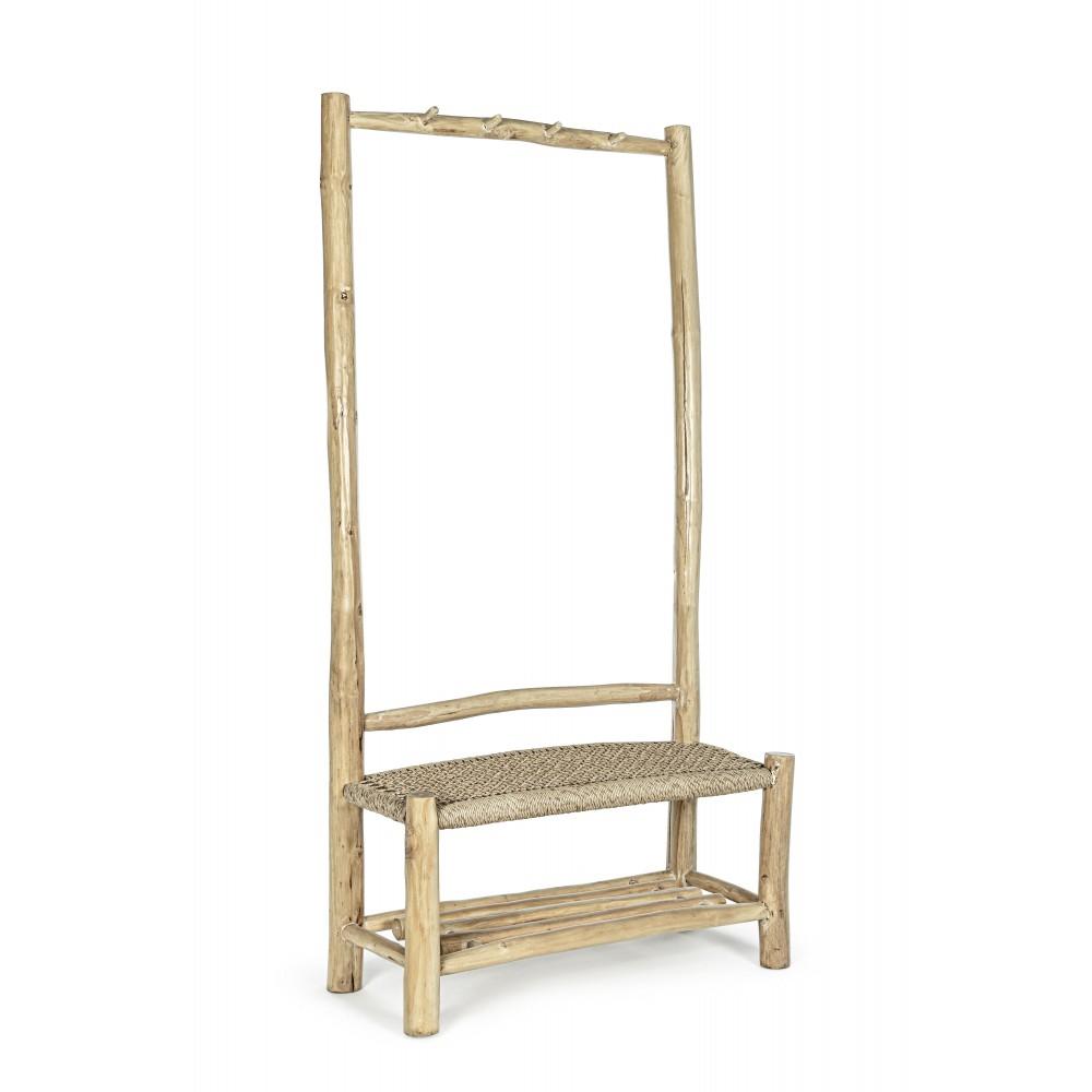 Mesa de centro de madera de pino natural decapado blanco y estructura en metal blanco roto