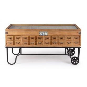 Mesa bar alta estilo rústico de madera de pino encerada con revistero.Plazo de entrega 15 dias.