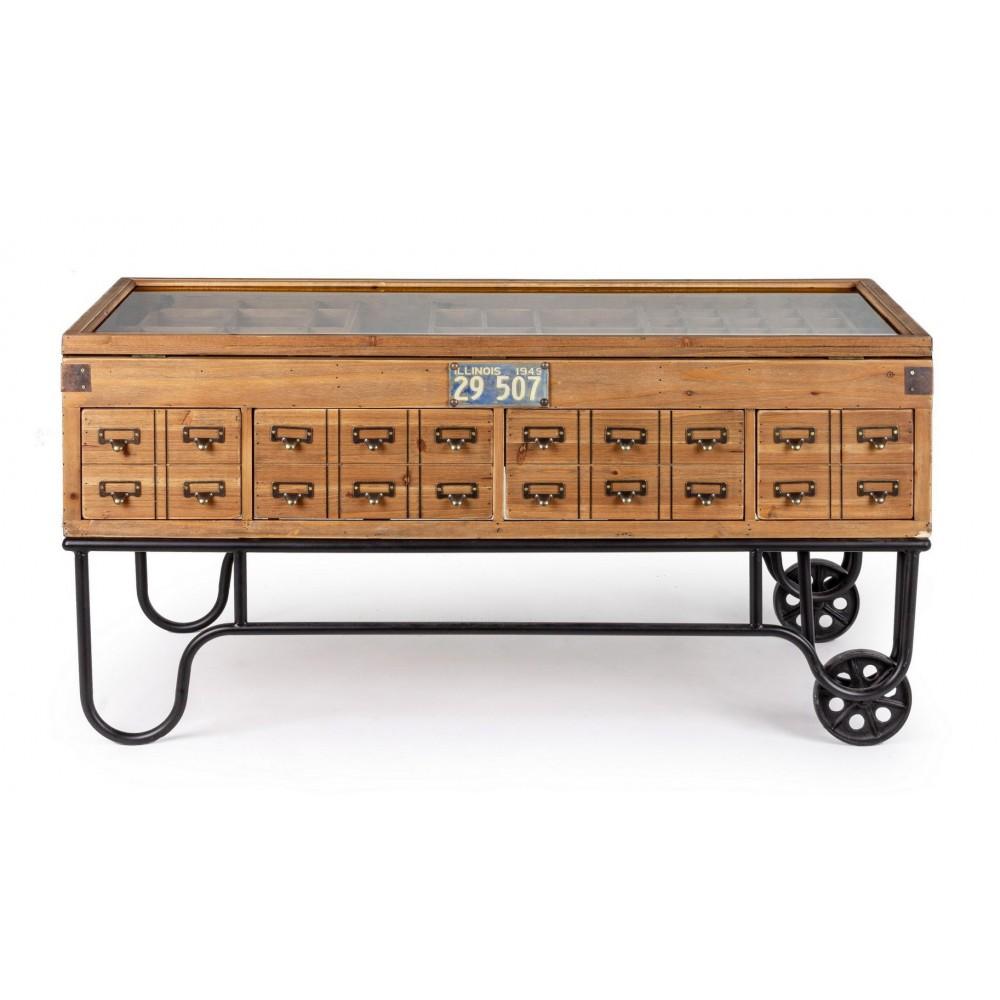 Mesa bar alta estilo rústico de madera de pino encerada con revistero