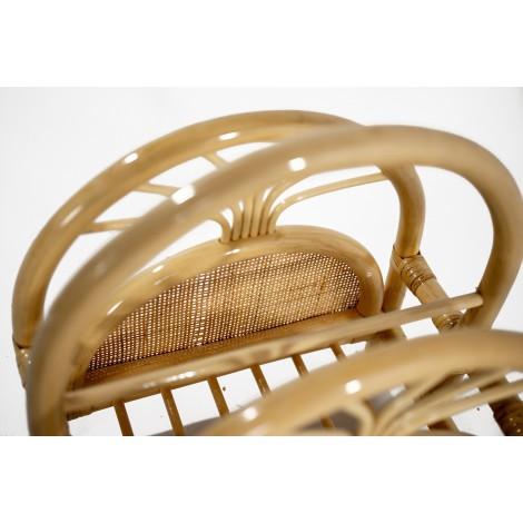 Mesita de noche KAB auxiliar estilo rústico de madera reciclada color teka com tres cajones