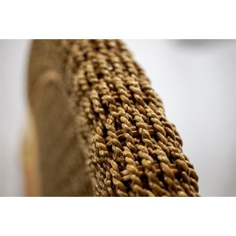 Baúl KAB de madera reciclada policromo tapa de madera color nogal frontal tallado con motivo floral
