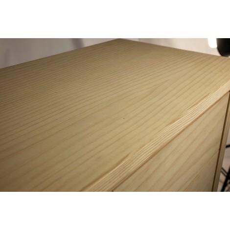 Mesa velador rústica de madera de pino natural