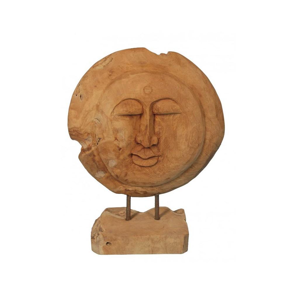 Moai Muebles y Decoración ·  Figura con cara de madera de teka
