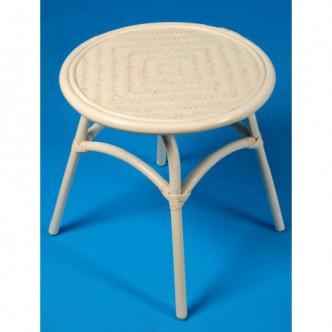 Mesa redonda de caña blanca