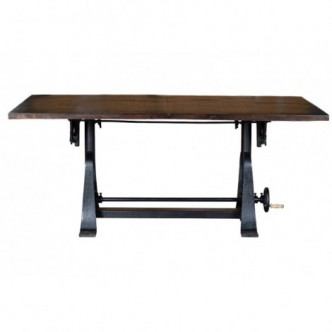 Mesa de comedor elevable de hierro y madera de mango 105 de alto