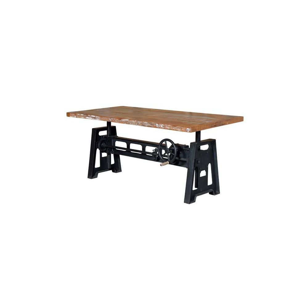 Mesa comedor elevable de madera reciclada con