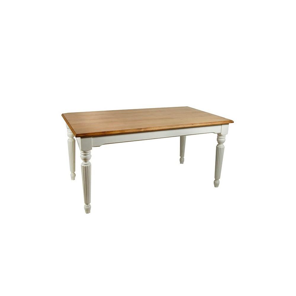 Mesa comedor extensible rústica con patas blanco